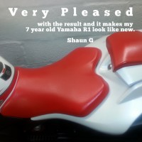 Yamaha R1 Motorbike Vinyl Seat Painted to Red with Vinyl Dye