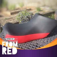 Motorcycle Vinyl Seat Painted From Black and Red with Vinyl Dye