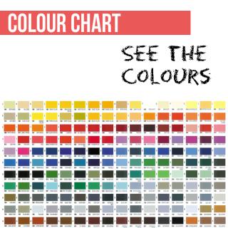 Colour Chart for Vinyl Dye Colours to paint plastic, leather, vinyl